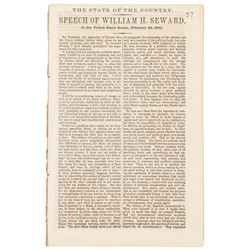 1860 US Senate Imprint: State of the Country. Speech by William H. Seward