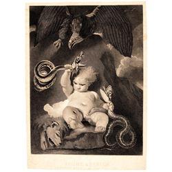 c. 1861 Rare Civil War Engraving, Young America Crushing Rebellion + Sedition