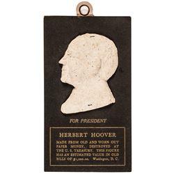 c. 1928 President Herbert Hoover Macerated Currency Original Presentation Card