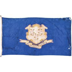 Connecticut State Flag Hanging Banner Sewn Linen Measuring about 6 ft x 10 ft