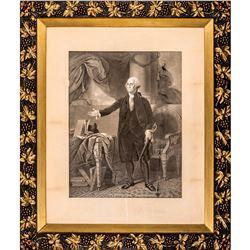 Huge Size GENERAL WASHINGTON Lansdowne Portrait Engraving in an Ornate Frame