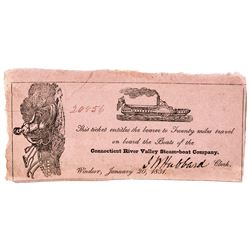 1831 Connecticut River Valley Steamboat Company Ticket for 20 Miles of Travel