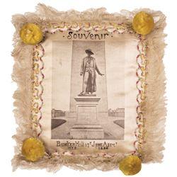1886-Dated, Rare Battle Of Bunker Hill Souvenir Silk Embroidered Pillow