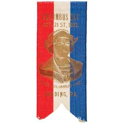 1892 Patriotic COLUMBUS DAY SILK RIBBON, 400 YEARS, With Gilt Bust of Columbus