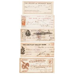 1868-1907 Six Mostly Western Partially-Printed Financial Documents