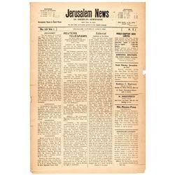 June 5, 1920-Dated Newspaper titled, Jerusalem News: An American Newspaper