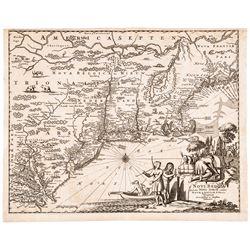 c. 1670 Map of North America NOVI BELGII, QUOD NUNC NOVI JORCK VOCATUR,...