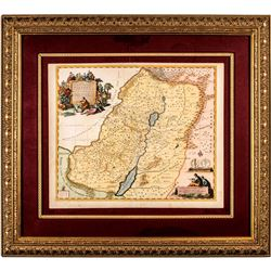 c. 1700 Engraved Hand-Colored Map of Israel, Covens, I./Mortimer, C., Amsterdam