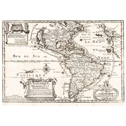 c. 1717 Map of North + South America Discovered + Sailed by Christopher Columbus