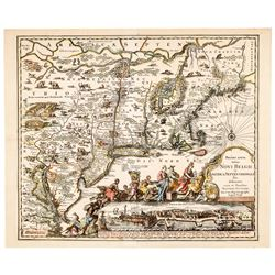 c 1730 Seutter Map: Recens Edita totius Novi Belgii, in America Septentrionali