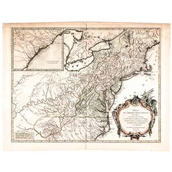 1755-Dated French + Indian War Era Hand-Colored North America Map by De Vaugondy