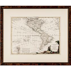 1770 Gorgeous Hand-Colored Engraved MAP OF THE AMERICAS By ANTONIO ZATTA Framed