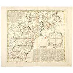 1777 Revolutionary War Map AMERICA SEPTENTRIKONALIS..., Homann Heirs, Nuremberg