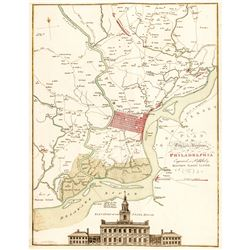 1777 Map, A PLAN OF THE CITY AND ENVIRONS OF PHILADELPHIA by Matthew A. Lotter