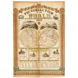 1846 Handcolored Broadside, Pictorial View of the World, by Humphrey Phelps, NY