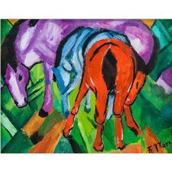 Franz Marc German Cubist Oil on Paper