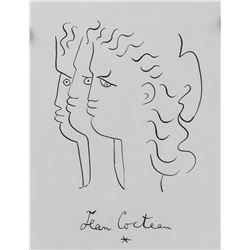 Jean Cocteau French Cubist Ink on Paper