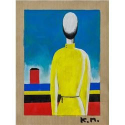 Kazimir Malevich Russian Suprematist Oil on Paper