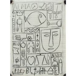 Joaquin Torres-Garcia Uruguayan Modernist Pencil