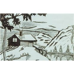 Signed Austrian School Ink on Paper Landscape