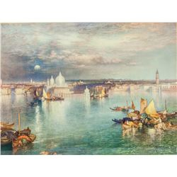 Thomas Moran Lithograph Landscape Dated 1898