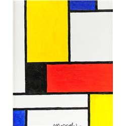 Piet Mondrian Dutch Abstract Oil on Canvas Signed