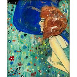 After Gustav Klimt Austrian Symbolist Oil on Panel