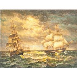 19th Century Unsigned Oil on Metal Board  Maritime