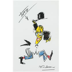 Federico Fellini 1920-1993 Italian Mixed Media