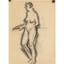 19th C. Jugendstil Sketches Charcoal on Paper