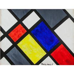 Theo Van Doesburg French Dadaist Oil on Canvas