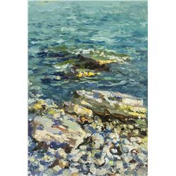 Artist Signed KPM Russian Oil on Paper Seaside