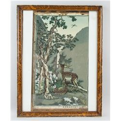 Chinese Embroidery Panel Pine and Deer with Frame