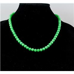 Chinese Green Hardstone Carved Round Bead Necklace