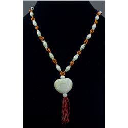 Chinese Green Hardstone Necklace with Pendant