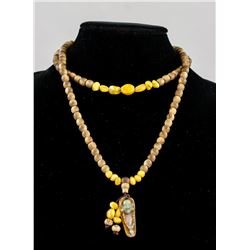 Chinese Chenxiang Wood and Amber Jade Necklace