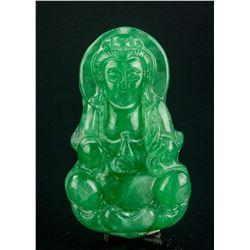 Burma Fine Green Jadeite Carved Guanyin Pendant