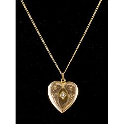 Antique Gold Diamond Locket w/Photo