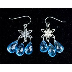 14K White Gold Blue Topaz Earrings CRV $1800
