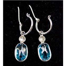 14K White Gold Blue Zircon Earrings RV $3000