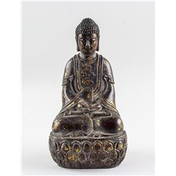 Chinese Gilt Bronze Shakyamuni Buddha Statue w/ MK