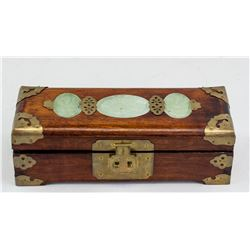 Chinese Wood Jewellery Box with Jade Decoration