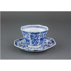 17/18th C. Blue & White Porcelain Cup and Saucer