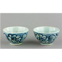 Pair Chinese Blue & White Porcelain Tea Cups