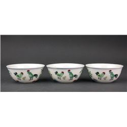 Three Assorted Porcelain Chicken Cups Ming MK