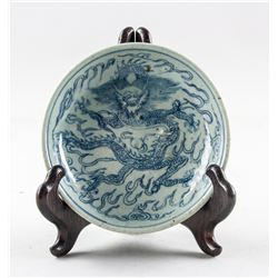 Chinese Blue and White Porcelain Dragon Plate