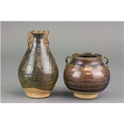 Two Tang Style Black Glazed Small Pottery Jars