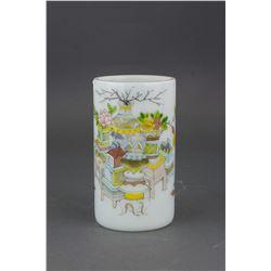 Chinese Fine Peking Glass Brush Pot Qianlong Mark
