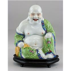 Chinese Famille Rose Porcelain Happy Buddha Statue