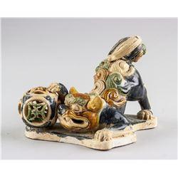 Chinese Sancai Glazed Pottery Lion Statue